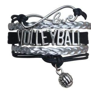 Girls Volleyball Bracelet - Black & Silver